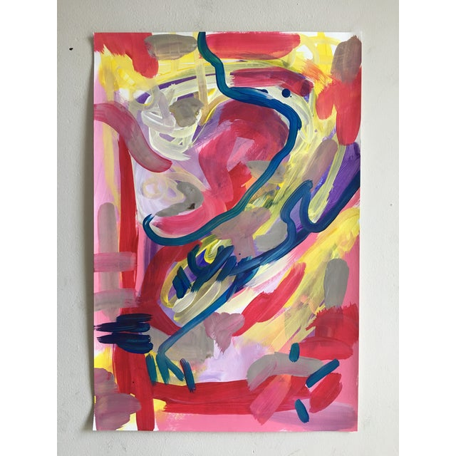 Original abstract painting by Seattle artist Jessalin Beutler completed in 2017. Lush color would add drama to any room!...