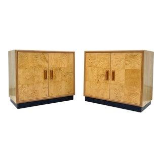 Pair Vintage Modern Burl Cabinets by Henredon For Sale