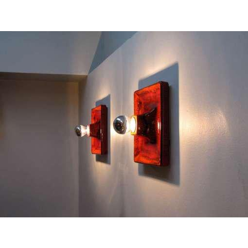 Red Ceramic Wall Sconces - A Pair For Sale - Image 9 of 9