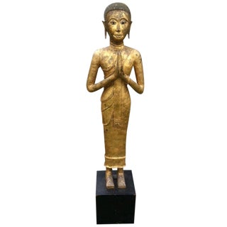 Magnificent Early 19th Century Bronze Thai Buddha Monk For Sale