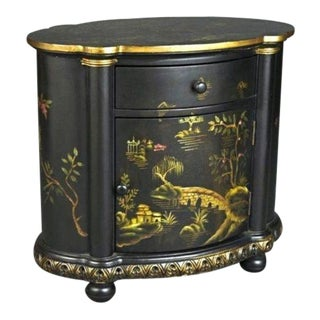Vintage Chinoiserie Black Hand Painted Carved Buffet