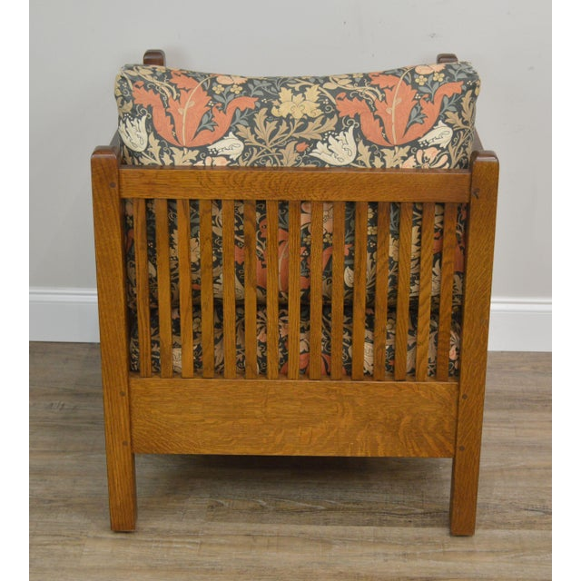 Late 20th Century Stickley Mission Collection Oak Spindle Cube Chair For Sale - Image 5 of 13