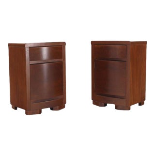 Vintage Mid Century Art Deco Walnut End Tables Nightstands- a Pair For Sale