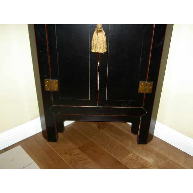 Black Lacquer Asian Corner Cabinet Side Table - Image 5 of 7