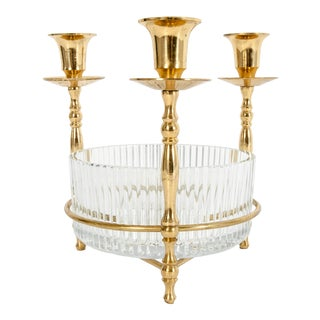 Cut Crystal / Gilt Brass Holding Candlestick Decorative Piece For Sale
