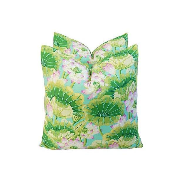 Kaffe Fassett Green Lotus Pillows - A Pair - Image 4 of 8