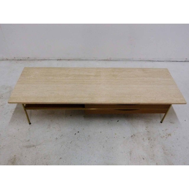 Paul McCobb For Calvin Mahogany, Brass & Travertine Coffee Table - Image 3 of 11