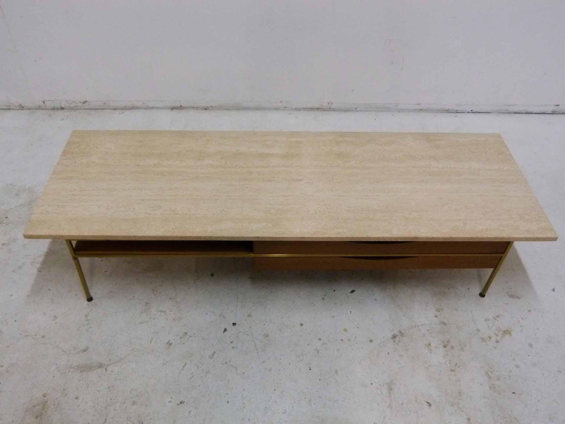 Boho Chic Paul McCobb For Calvin Mahogany, Brass U0026 Travertine Coffee Table  For Sale