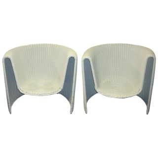 Vintage Mid Century Wicker Chairs- A Pair For Sale