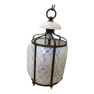 Mid 20th Century Earl-Lites Opalescent Caged Ormolu Hanging Light For Sale