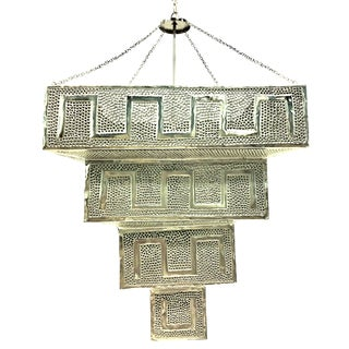 21st Century Monumental Silver Steel Moroccan Style Hanging Pendant Light - 2 Available For Sale