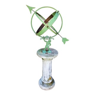 Early 20th Century Armillary Sphere on English Cast Stone Base For Sale