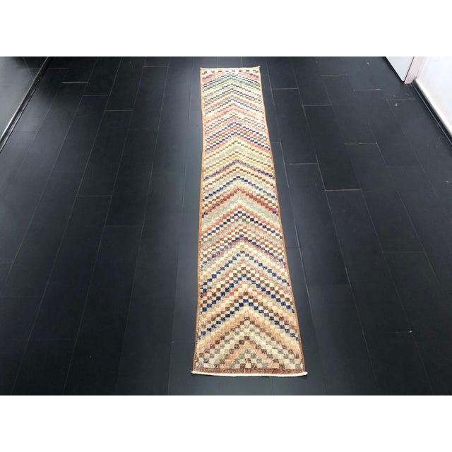 Vintage Geometric Design Turkish Anatolian Wool Runner For Sale - Image 11 of 11