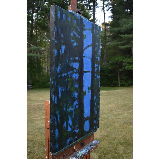 """Canvas """"Blue Punctuation"""" Abstract Painting For Sale - Image 7 of 10"""