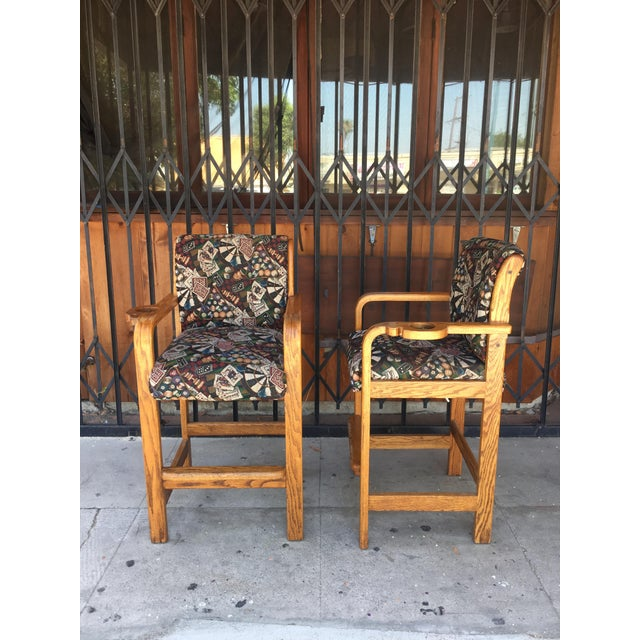 Textile Vintage Mid Century Barstools- A Pair For Sale - Image 7 of 13
