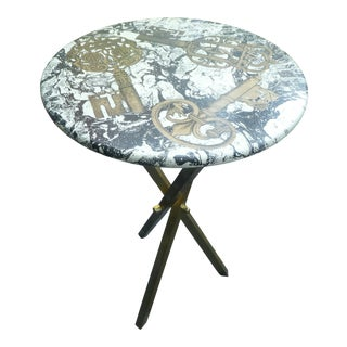 1960s Mid-Century Modern Fornasetti Table Adorned With Gold Keys For Sale