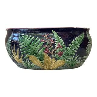 Joseph Holdcroft English Majolica Fern & Flowers Jardiniere, Circa 1880 For Sale