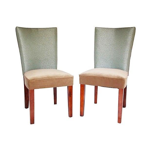Sea Foam Velvet Swirl Chairs- A Pair - Image 7 of 7