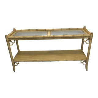 20th Century Chinoiserie Thomasville Faux Bamboo Two Tier Console Table With Fretwork and Glass For Sale