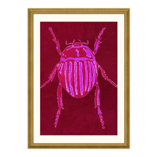 Striped Beetle - Bright Series no. 2 by Jessica Molnar in Gold Frame, Small Art Print For Sale