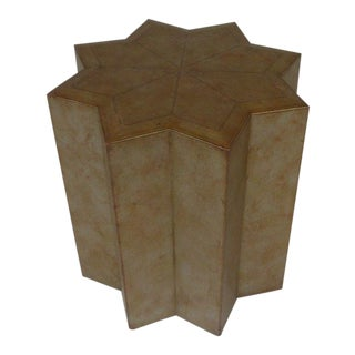 1950s Vintage Maitland-Smith Moroccan Leather Hexagonal Occasional Table