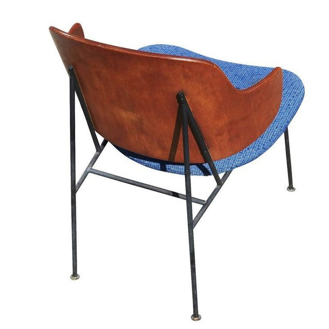 "Blue 1950s Ib Kofod-Larsen ""Penguin"" Iron and Molded Birch Danish Lounge Chair For Sale - Image 8 of 8"