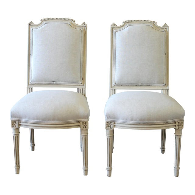 Early 20th Century Louis XVI Style Painted and Upholstered Childs Chairs - a Pair For Sale