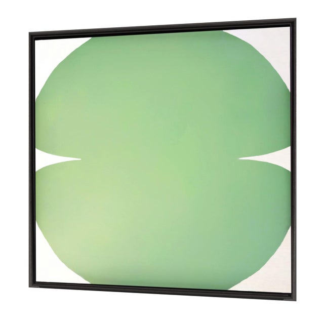Contemporary Abstract Graphic Celadon and White Painting by Brooks Burns, Framed For Sale - Image 4 of 4