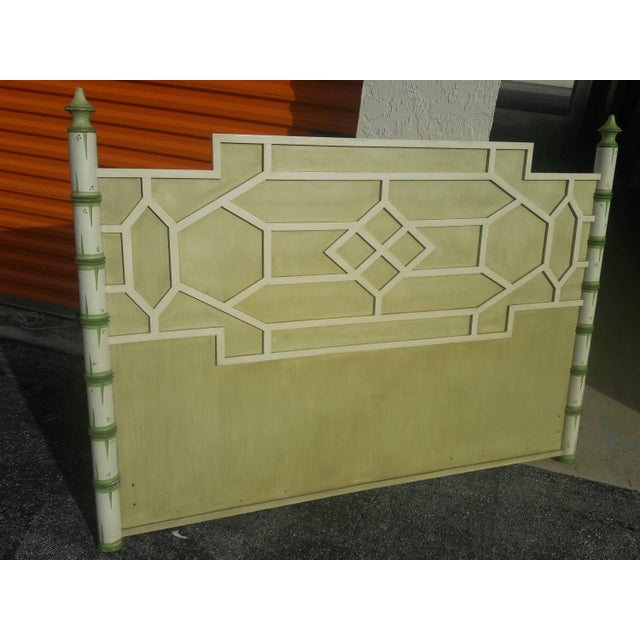 Asian Solid Wood Queen Geometric Pagoda Headboard For Sale In Miami - Image 6 of 6