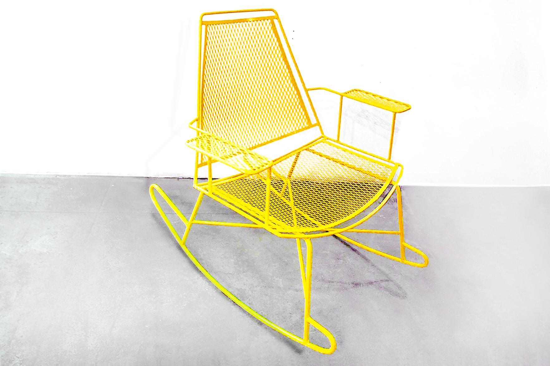 Mid Century Metal Mesh Patio Rocking Chair   Image 2 Of 3