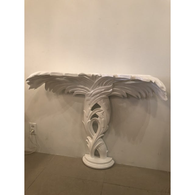 Vintage newly lacquered gloss white wall mount console table. Will include new glass top.