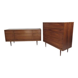 Mid-Century American Walnut Dressers by Dixie Furniture - a Pair For Sale