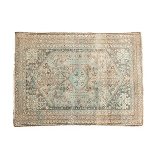 "Vintage Distressed Abadeh Square Rug - 3'6"" X 4'8"" For Sale"