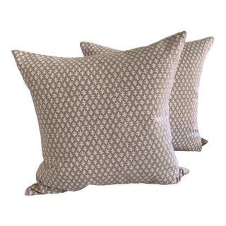 "Sister Parish Lilac Burma Linen and Cotton 22"" Pillows- a Pair For Sale"