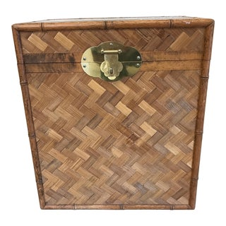 Bamboo & Herringbone Parquet Trunk Chest For Sale