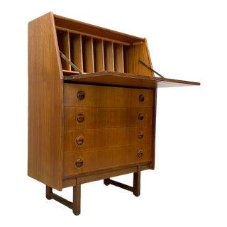 Danish Modern Turnidge of London Teak Drop Down Secretary Desk For Sale