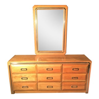 Solid Oak Dresser With Mirror & Chrome Accents