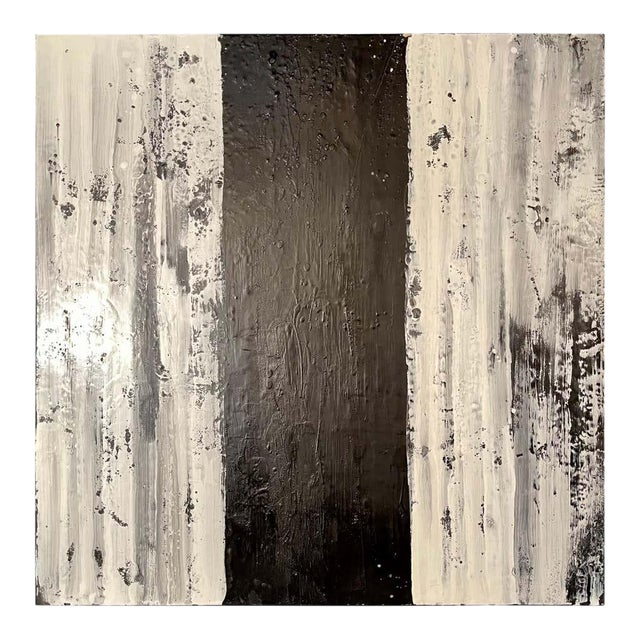 "Lynn Basa Encaustic Black and White Stripe Panel ""Three Ways of Looking Black"" For Sale"