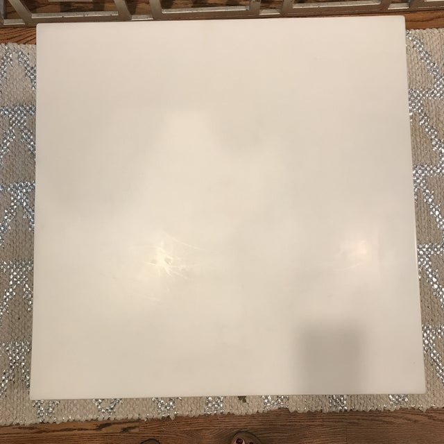 White Lacquered Seagrass Coffee Side Table For Sale In New York - Image 6 of 8