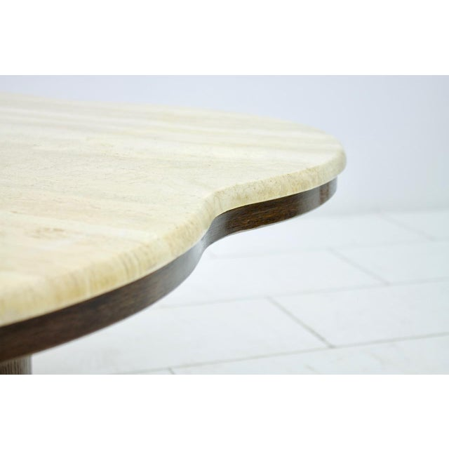 Brown Travertine Cloud Coffee Table With Wood Base, 1970s For Sale - Image 8 of 10