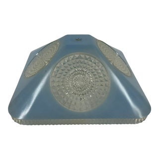 Vintage Art Deco Blue Glass Square Lamp Shade For Sale