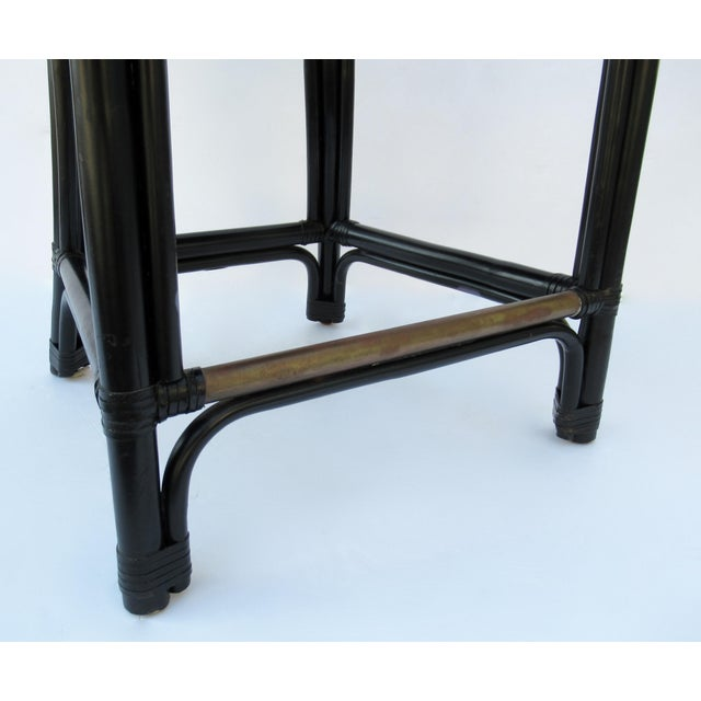 C.1996 Palecek Black Leather Strapped Rattan Counter Stools - a Pair For Sale - Image 12 of 12