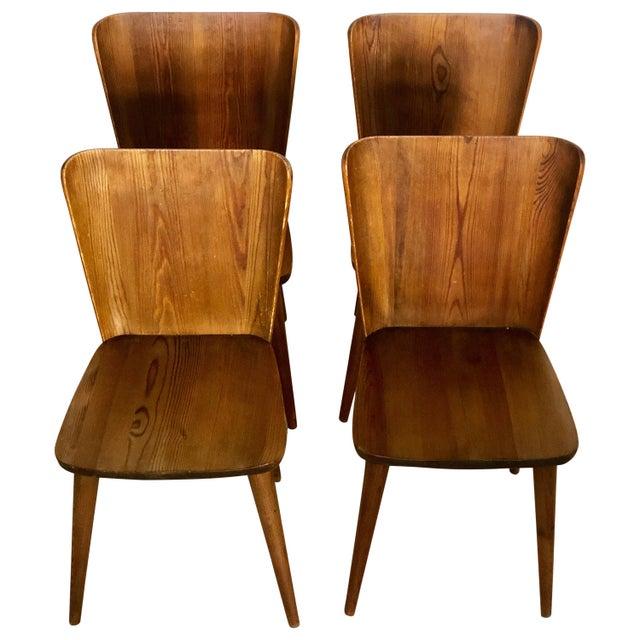 Brown Set of 4 Goran Malmvall Swedish Pine Chairs, Svensk Fur, Sweden, 1940s For Sale - Image 8 of 8