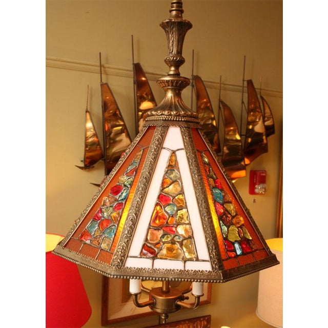 Brutal Stained Glass Modern Hollywood Regency Chandelier 1950s - Image 4 of 10