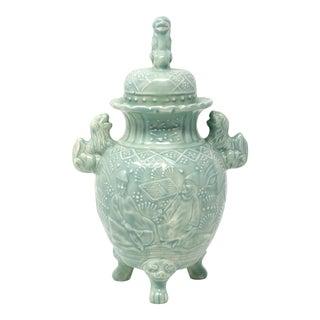 Vintage Footed Ceramic Foo Lion Jar For Sale