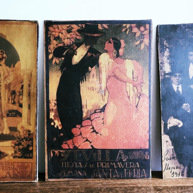 Spanish Vintage Sevilla Travel Posters, Wood Backed - Set of 3 For Sale - Image 3 of 6