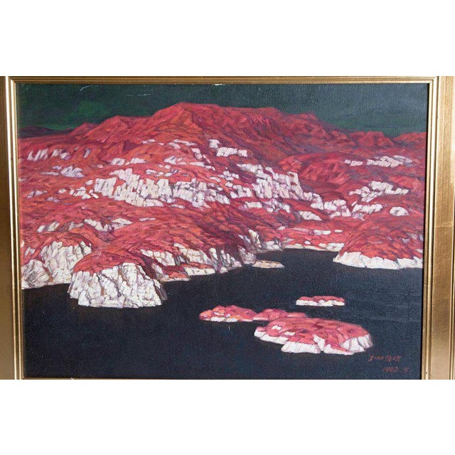 Canvas Chinese Abstract Oil on Canvas of Mountains and Seascape, Indistinctly Signed For Sale - Image 7 of 13