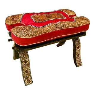 Moroccan Camel Saddles Leather Red & Tan Cushion Wooden Base Stool For Sale