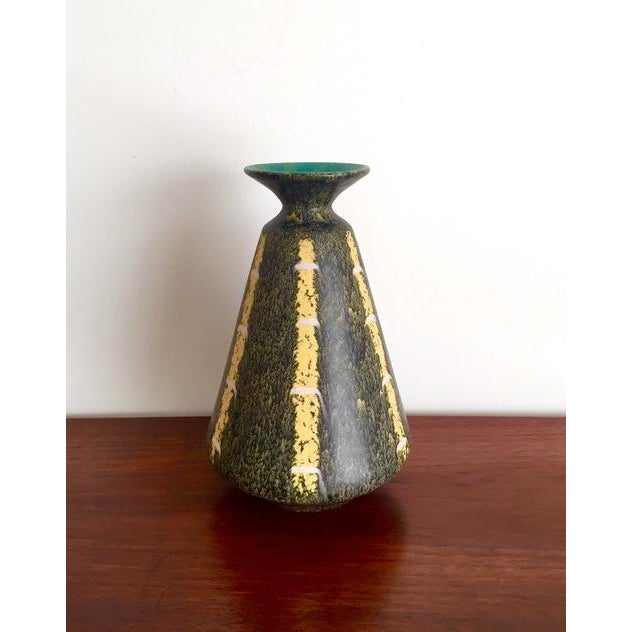 Scheurich Ceramics Yellow Striped Vase - Image 3 of 4