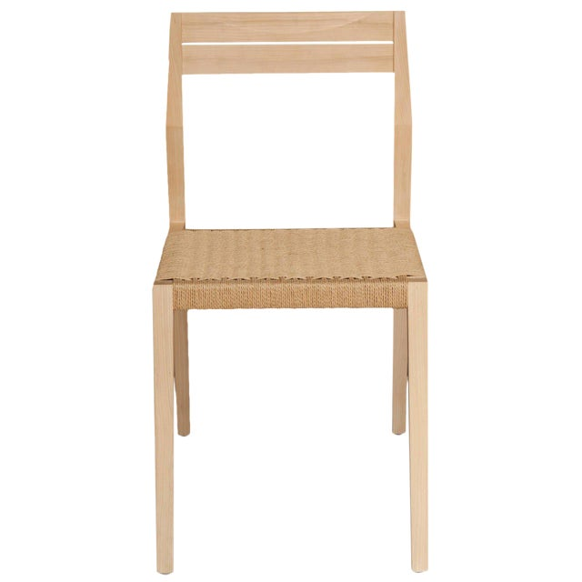 Stillmade Solid White Oak Dining Chair with Paper Cord Seat For Sale